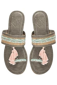 Grey Tassel Sandals by Gush
