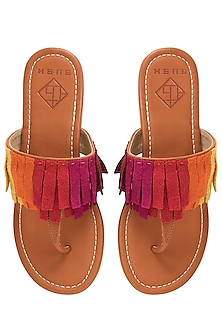 Tan Fringes Sandals by Gush