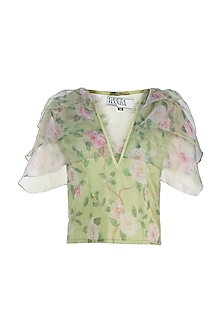 Light Green Layered Top by Geeta Handa
