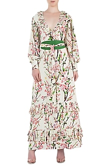 Cream and Pink Floral Maxi Dress by Geeta Handa