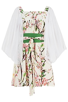 Cream and Pink Floral Smock Dress