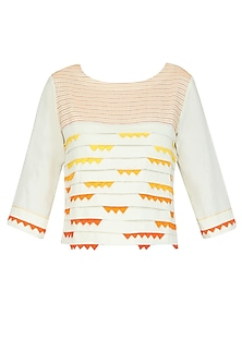 Off White and Orange Shaded Pleated Short Top
