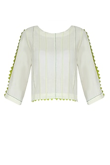 Off White and Contrast Green Pintucks Short Top