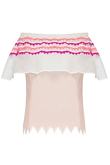 Off White and Fuchsia Off Shoulder Top