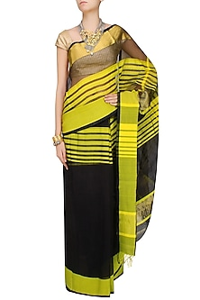 "Black And Chrome Yellow Zari Embroidered Striped ""Ghat"" Saree by Gayatri"