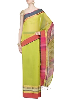 "Lime Green Zari Embroidered ""Rajwada"" Saree by Gayatri"