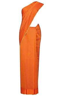 "Sunset Orange Zari Embroidered ""Gulmohar"" Saree by Gayatri"