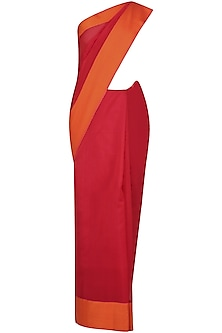 Red And Sunset Orange Zari Embroidered