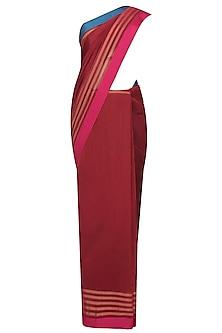 "Marsala Red Zari Embroidered ""Malwa"" Saree by Gayatri"