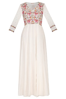 Off White Embroidered Kali Dress by Gazal Mishra