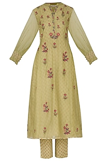 Wild Lime Green Embroidered Printed Kurta With Pants