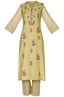 Wild Lime Green Embroidered & Printed Straight Kurta With Pants