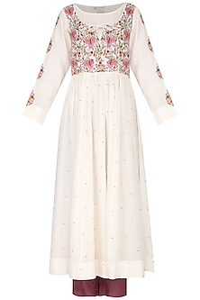 Off White Embroidered Kurta With Wine Pants