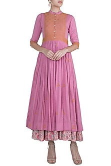 Pink Thread Embroidered Dress by Gazal Mishra