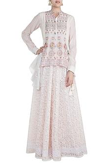 Off White Embroidered Skirt by Gazal Mishra