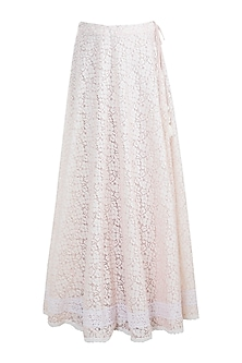 Off White Embroidered Skirt by Gazal Mishra