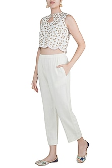 Off White Embroidered Handcrafted Cropped Pants by Gazal Mishra