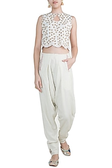 Off White Embroidered Handcrafted Pants by Gazal Mishra
