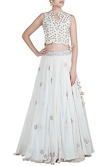 Off White Hand Embroidered Skirt by Gazal Mishra