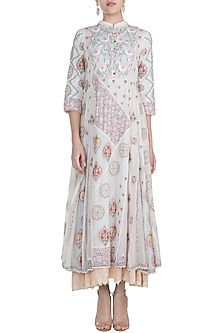 Off White Embroidered Handcrafted Dress by Gazal Mishra