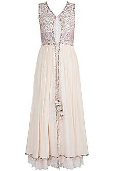 Off White Embroidered Dress by Gazal Mishra