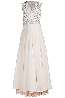 Off White Embroidered Maxi Dress by Gazal Mishra