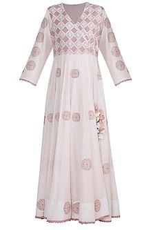 Blush Pink Embroidered Angrakha Kurta by Gazal Mishra