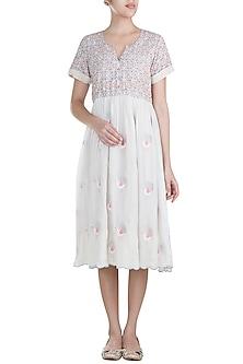 Off White Embroidered Knee Length Dress by Gazal Mishra