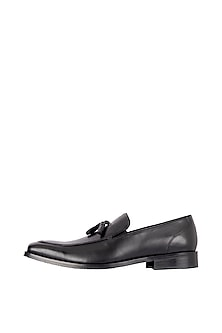 Black Hand Painted Tassel Loafer Shoes by Harper Woods