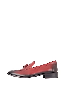 Lava Red Hand Painted Tasseled Loafer Shoes by Harper Woods