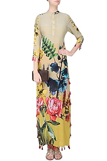 Colour Blocked Floral Long Slit Dress by Hemant and Nandita