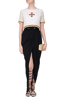 White Shimmer Striped Ikat Embroidered Crop Top by Hemant and Nandita
