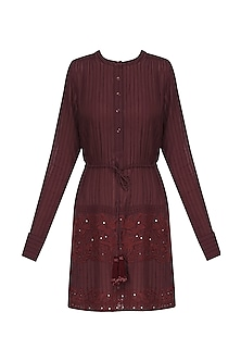 Burgendy Striped Embroided Short Dress