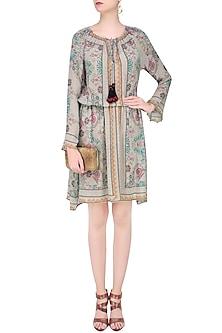 Beige Kantha Print Short Dress by Hemant and Nandita