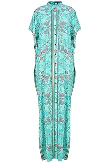 Sea Green Kantha Print Shirt Kaftan