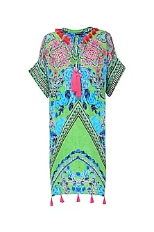 Green Scanned Print Short Kaftan Dress by Hemant and Nandita