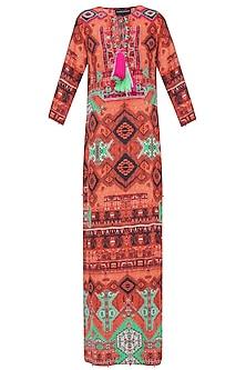 Orange Rug Print Long Dress by Hemant and Nandita