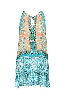Multicolor Vintage Tile Print Short Dress