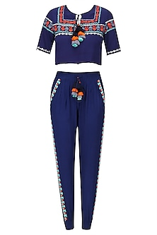 Navy Blue Swirl and Spatter Top and Pants Set