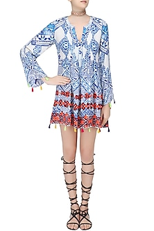 White and Blue Printed Flared Sleeves Dress by Hemant and Nandita