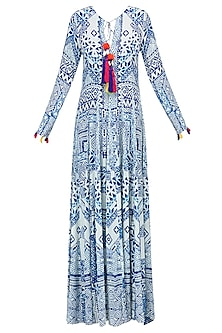 White and Blue Printed Long Maxi Dress