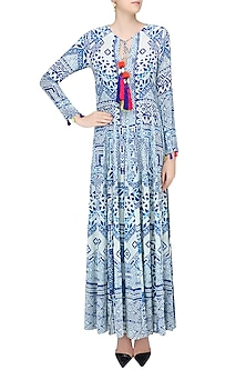 White and Blue Printed Long Maxi Dress by Hemant and Nandita