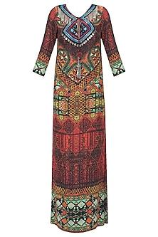Multicolor Nomad Print Long Maxi Dress
