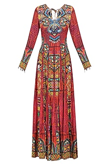 Red Nomad Print Fit and Flared Maxi Dress