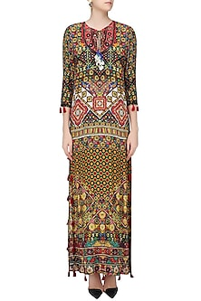 Beige Janpath Print Long Maxi Dress by Hemant and Nandita