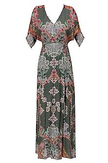 Wild Grey Floral Work Long Maxi Dress
