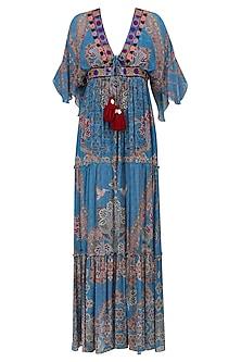 Wild Blue Floral Work Long Maxi Dress