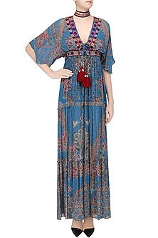 Wild Blue Floral Work Long Maxi Dress by Hemant and Nandita