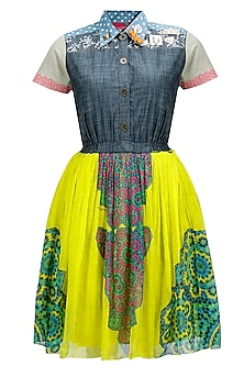 Yellow medallion and denim baby doll dress