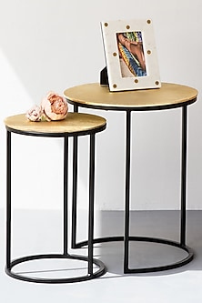 Sunburst Gold Nesting Tables - Set Of 2 by The Decor Remedy